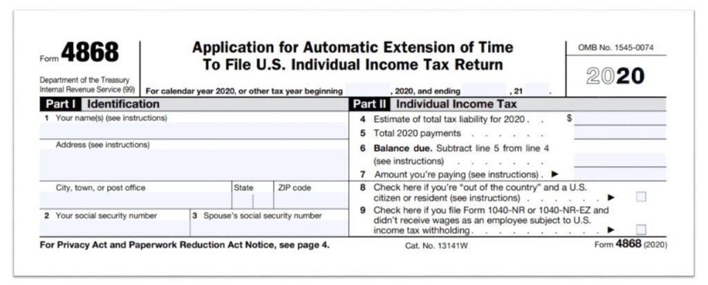 Tax Extension Form 4868